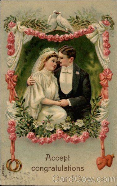 Accept Congratulations Marriage Wedding Vintage Postcards