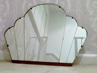 Art Deco Wall Mirror 1920 ' s art deco cloud panelled wall mirror - sunburst vintage