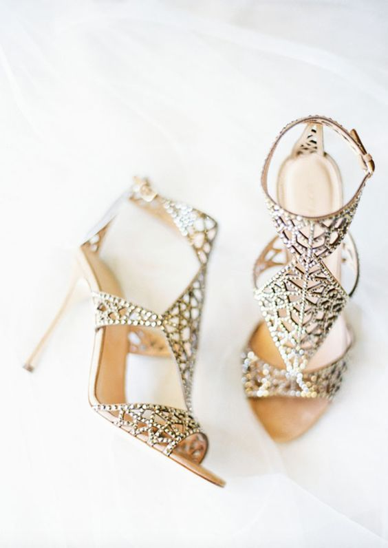 77a617d93f2e Glamorously unique gold wedding shoes  Via Sergio Rossi