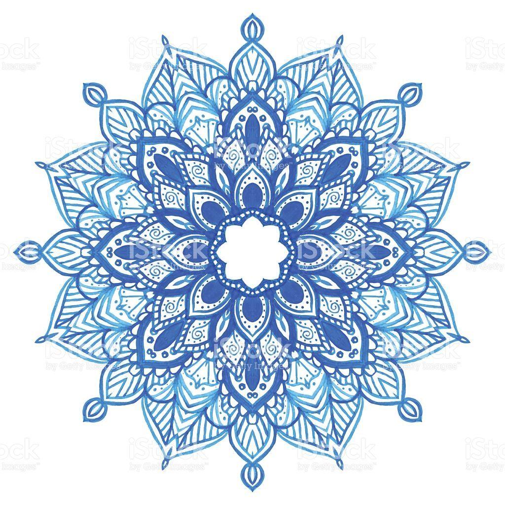 Watercolor hand drawn blue mandala. Lace circular ornament