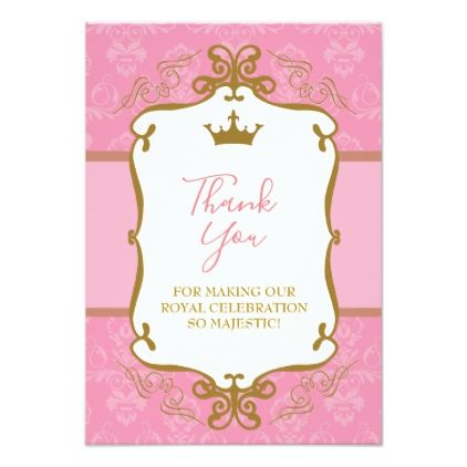 Pink and gold princess crown thank you card invitation ideas invitation ideas stopboris Image collections