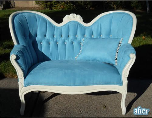 f8fd03e25 The Better After Blog is awesome! People have the most creative ways of  salvaging ugly furniture! This Tiffany Blue sofa is to die for!