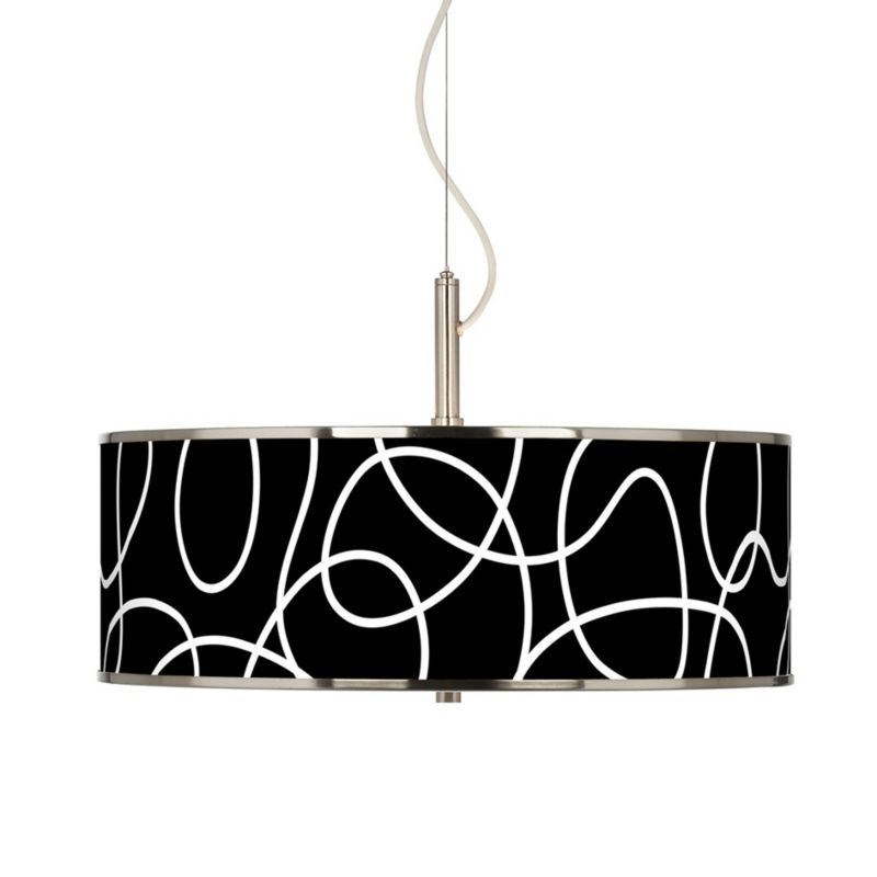 Brushed Steel Abstract Giclee Glow Art Deco Pendant -
