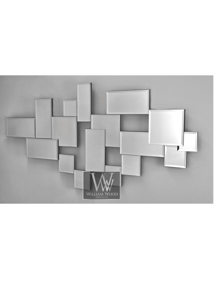 Roma Abstract Silver Modern Shaped Bricks Wall Mirror 55 X 28 X Large In Home Furniture Diy