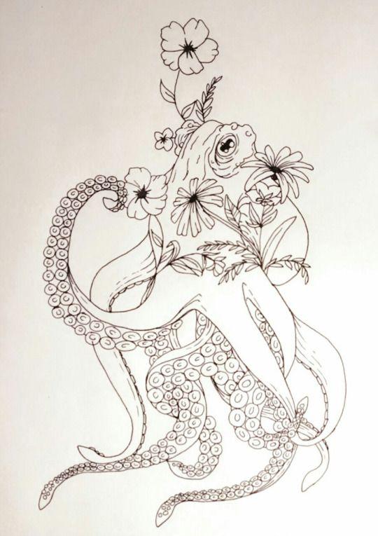 Photo of Schöner Oktopus mit Blumen-Tätowierungen für Frauen