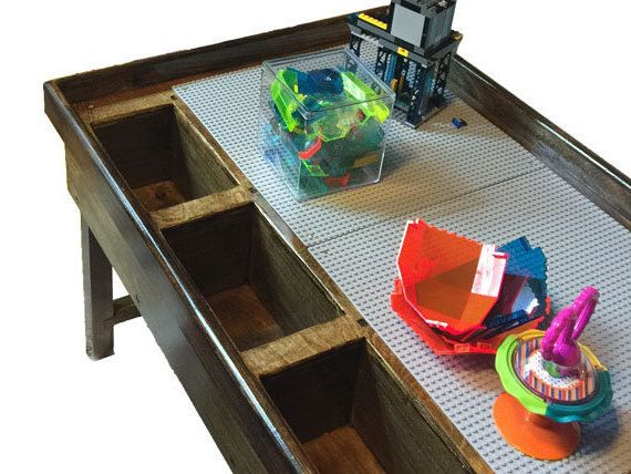 2 Or 3 Bin Custom Lego Duplo Storage Table   Wood Kids LEGO® Table  