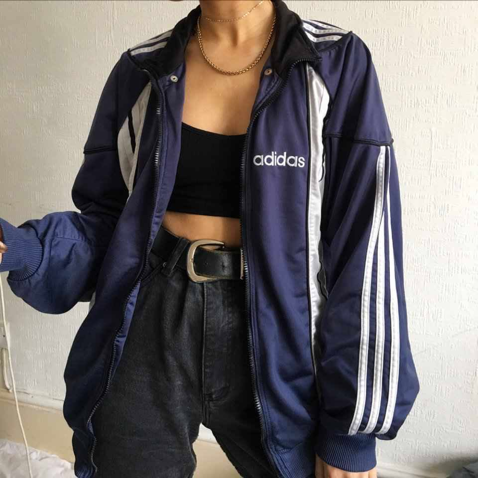 Vintage white Adidas zip up jacket with extra high Depop