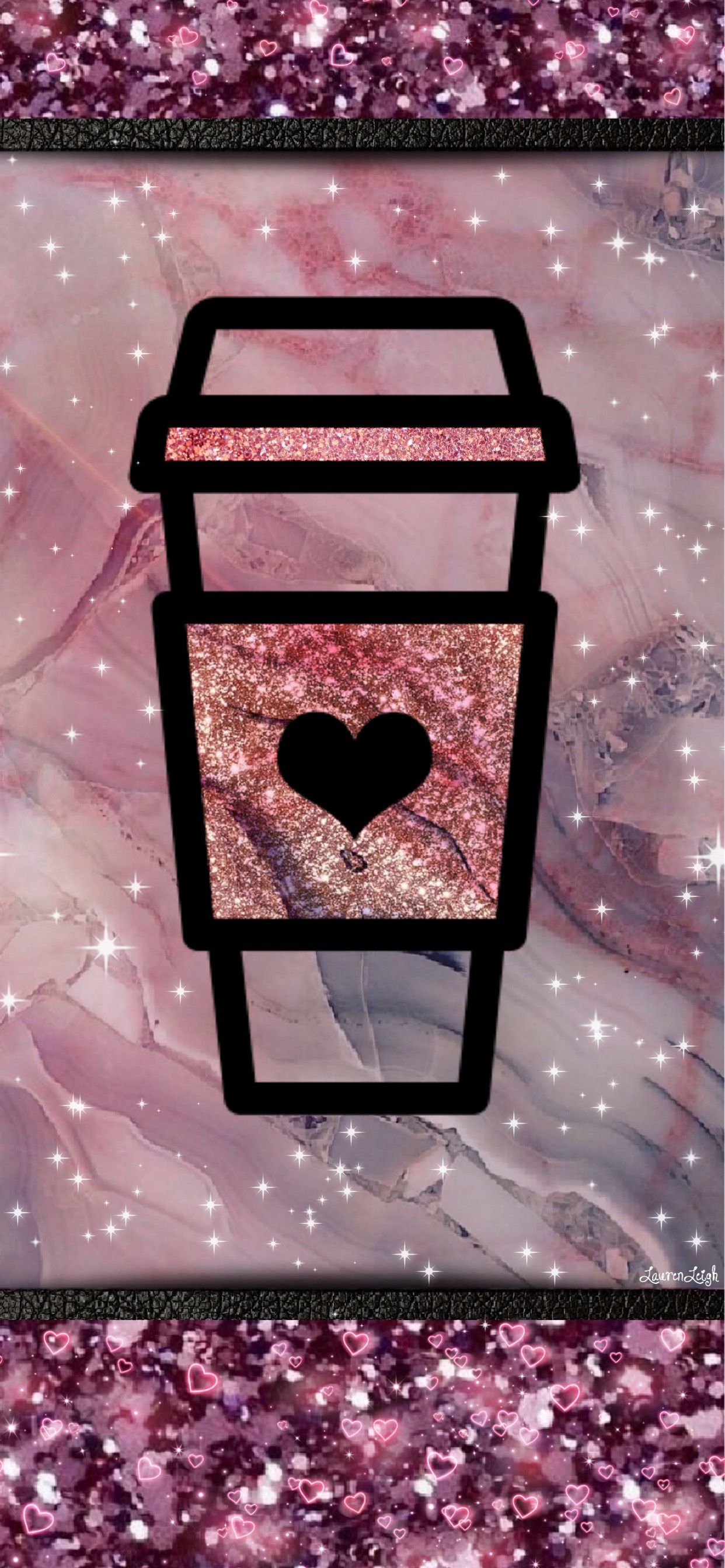 Coffee Cup Starbucks Pink Glitter Hearts Wallpaper