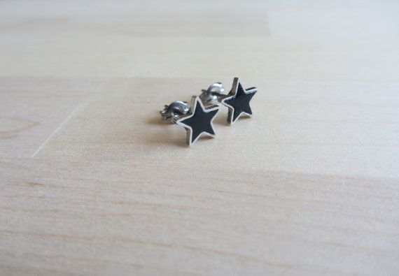Tiny 7 mm star studs Classic Black Polymer Clay by ColorfulClay