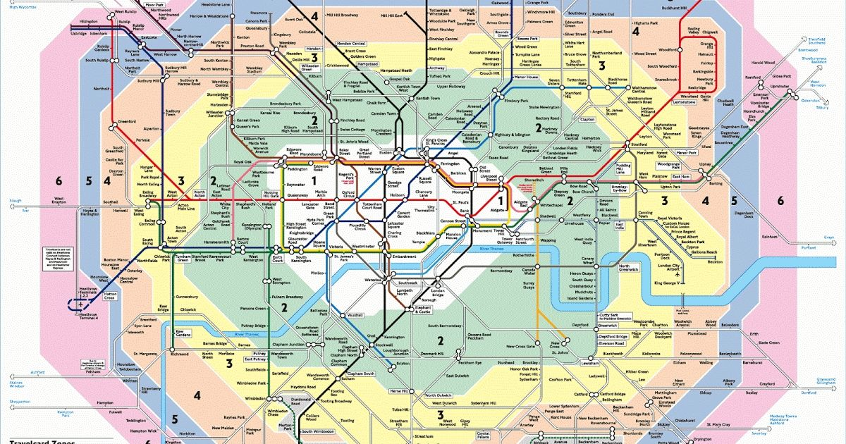 Zone 1 6 Map London Underground Map Zones 1 6 london travel zones map 9 1200 X  Zone 1 6 Map