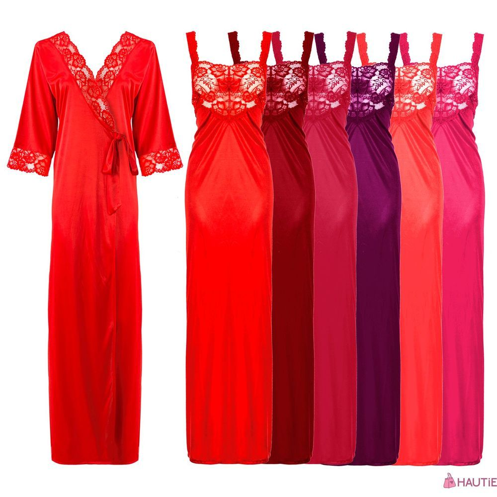f6fc9849d0 Womens satin lace ladies long nightdress nighty chemise lace ...