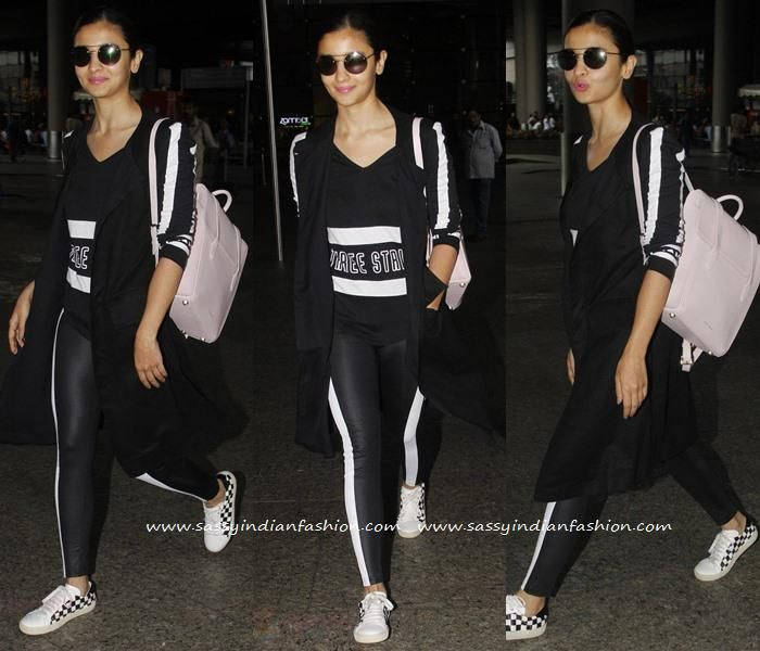 Alia Bhatt Rocks With Black And White Sporty Airport Look