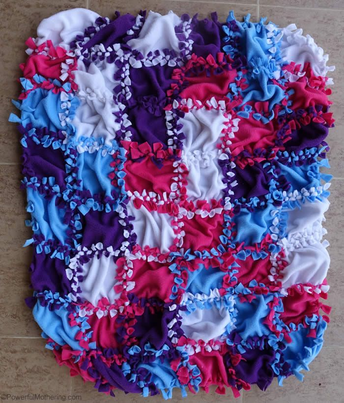 Patchwork No Sew Fleece Blanket Tutorial | Blanket, Patchwork and ...