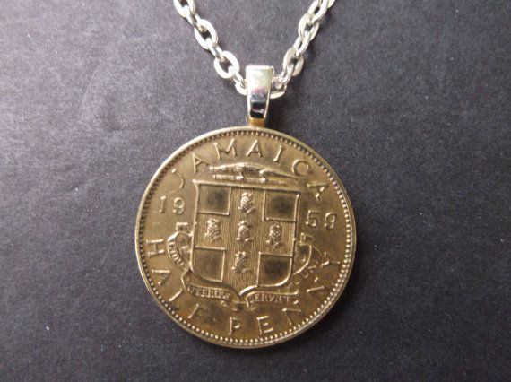 Jamaica Gold Colored Half Penny Coin Necklace -Jamaica 1959