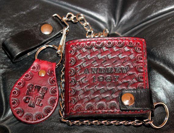 Rugged Bifold Blood Red Custom Biker Wallet | Chain Wallet | Long Wallet | Roper Wallet | Cell Phone Wallet Case