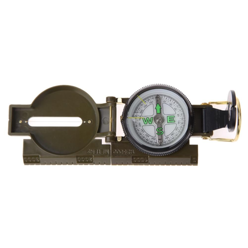 Metal Pocket Military Army Sighting Compass Camping Hiking Survival Marching