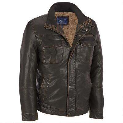 G.H. Bass Sherpa Lined Faux-Leather Jacket