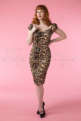 Leopard Bombshell 50/'s Pin Up Silk Dress