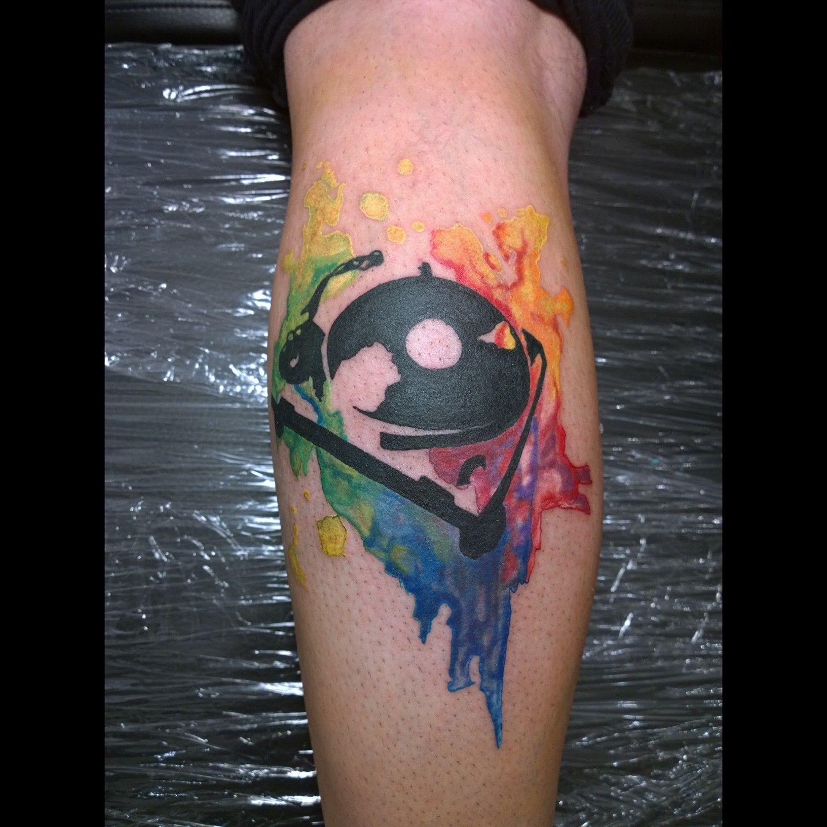 Turntable Tattoo Legtattoo Music Aqua Paint