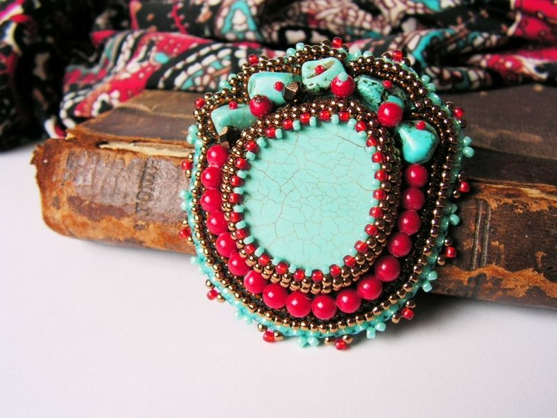 Turquoise Red Brooch Ethnic Tribal jewelry from PearlBerry by DaWanda.com
