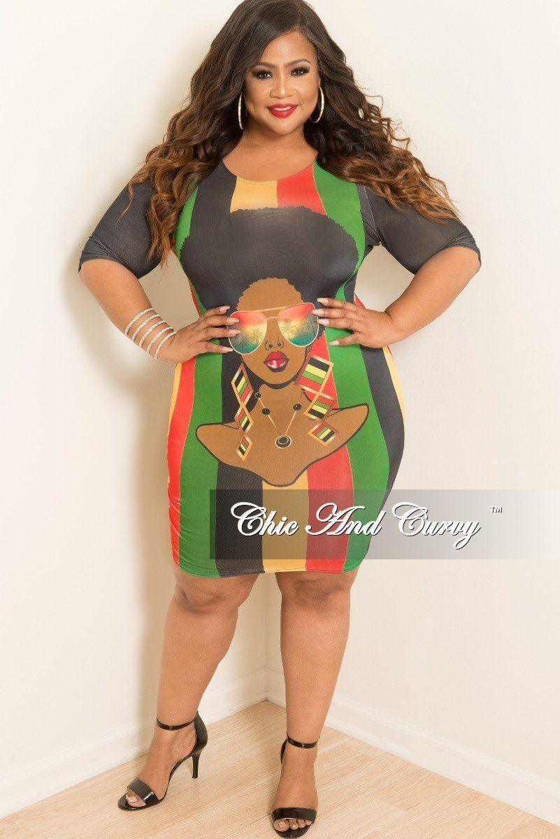 67ccba846f1 Plus Size Phenomenal Woman Dress in Black Red Green and Yellow – Chic And  Curvy