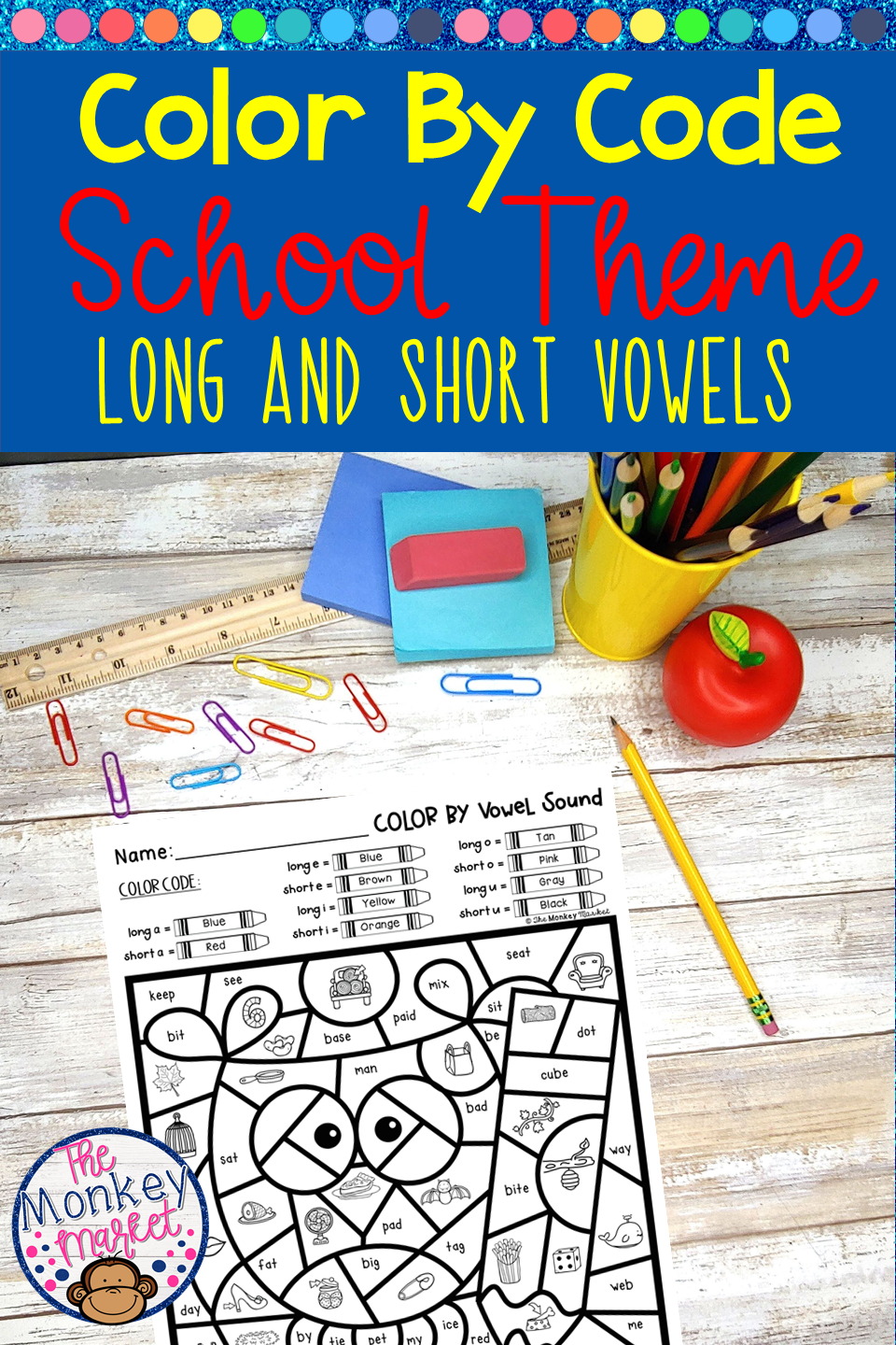Long And Short Vowels Color By Code Elementary Phonics School Themes Vowel Sounds [ 1440 x 960 Pixel ]
