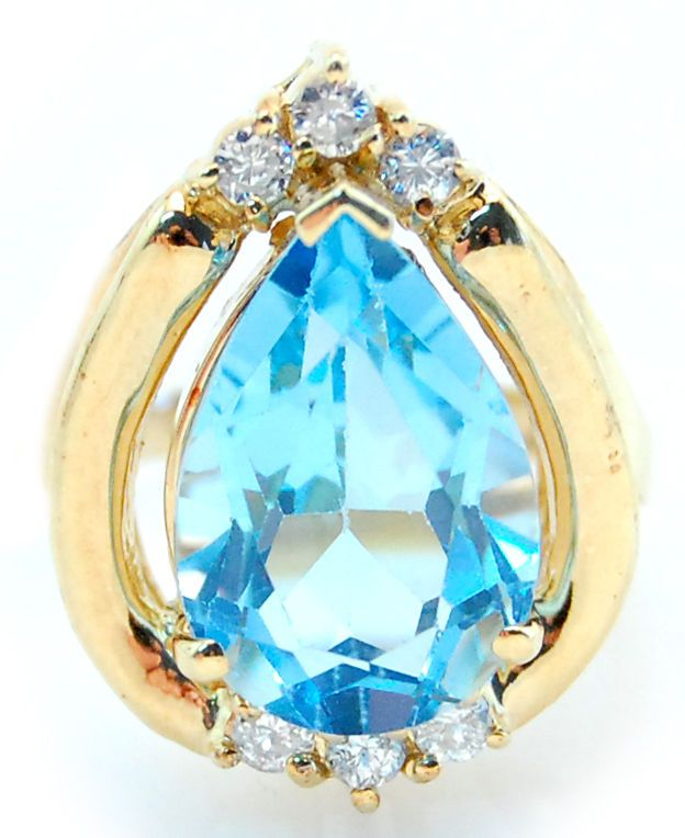 7ct Pear Shape Blue Topaz Cocktail Ring W/Accent Diamonds