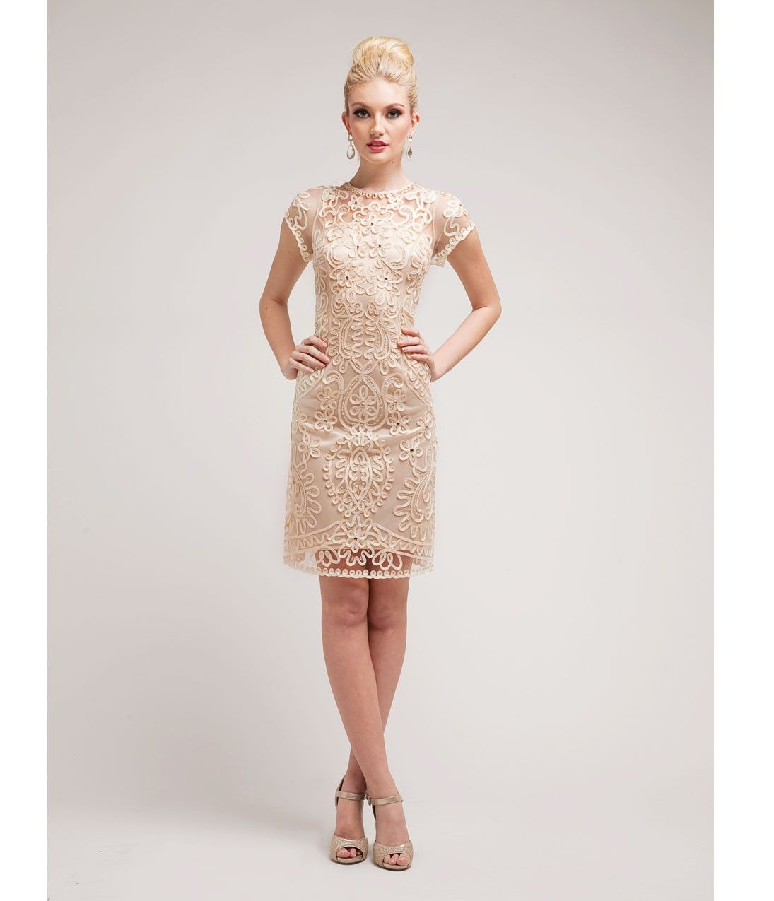 Cream Satin & Sequin Cocktail Dress | My Style: Dresses & Skirts ...