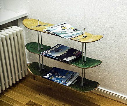 For a boys bedroom skateboard bookshelf