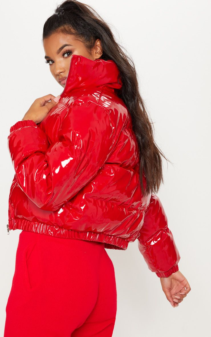 Red Cropped Vinyl Puffer Coats Jackets Prettylittlething Usa Red Puffer Jacket Bubble Jacket Womens Shiny Jacket [ 1180 x 740 Pixel ]