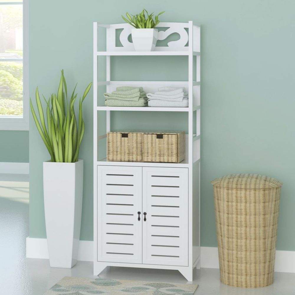 Tall Wooden Bathroom Cabinet Unit White Bath Furniture Organizer ...