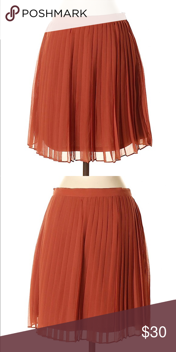 0049041ca6 Forever 21 Orange Rust Accordian Pleated Skirt Sm Length 14