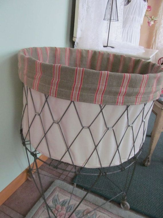 French Laundry Wire Hamper Liner Stripe Canvas By Perfectpielady