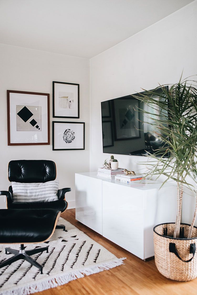 The Easiest Way To Decorate Around A Big Tv A Gallery Wall Jojotastic False Ceiling Living Room Small Space Hacks Decor