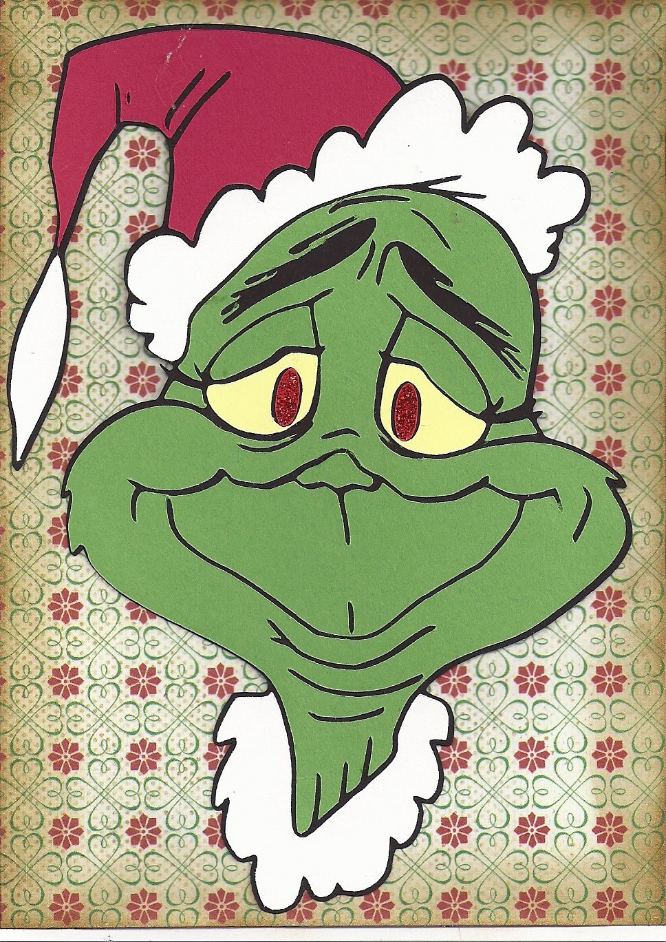the grinch christmas card. Made from tracing a coloring book page ...