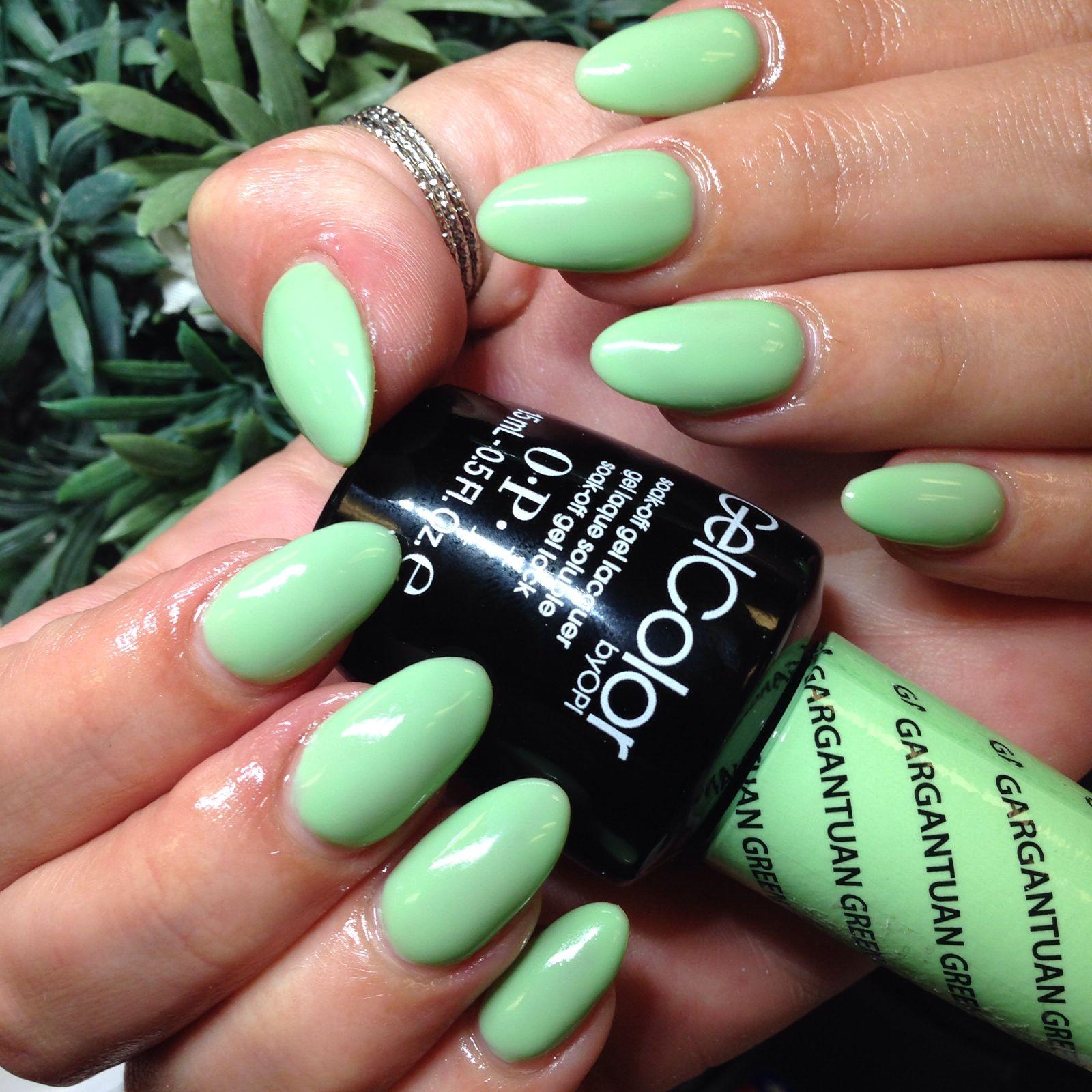 Opi Gel Color Gargantuan Green Grape Jeanyperez Gel Color Opi Manicure Glitter Gel Nails