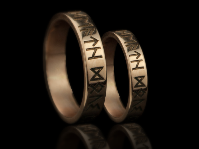 Wedding Band Ring Nordic Runes Till Death / Norse