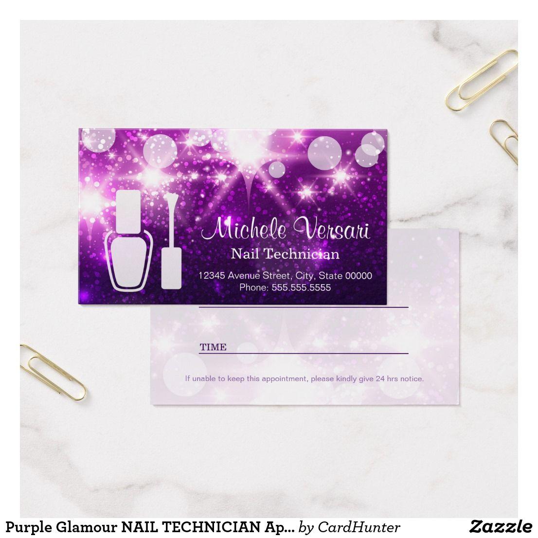 Purple Glamour NAIL TECHNICIAN Appointment Card Zazzle