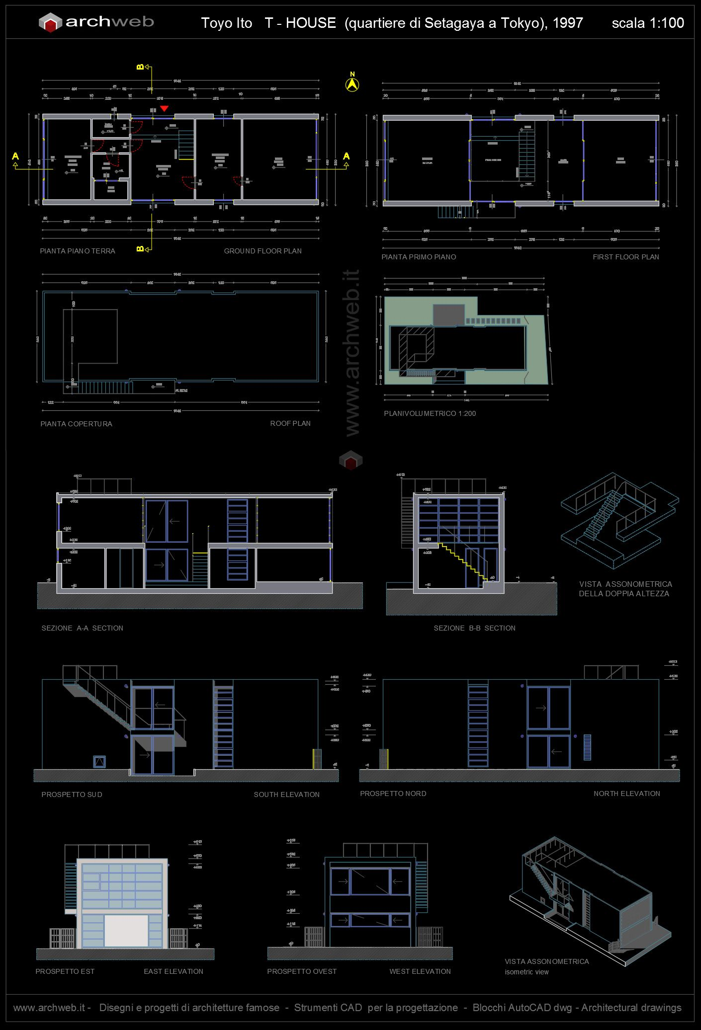 T House Di Toyo Ito Autocad Plan Iconic Houses Pinterest  # Muebles Mies Van Der Rohe Autocad