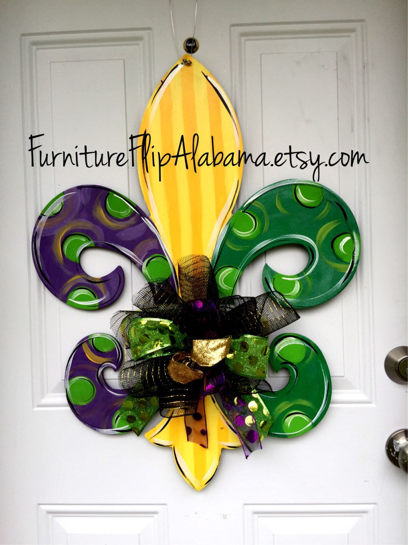 Mardi Gras Door Hanger Fleur De Lis Decor Wreath Wooden Trendy By Furnitureflipalabama