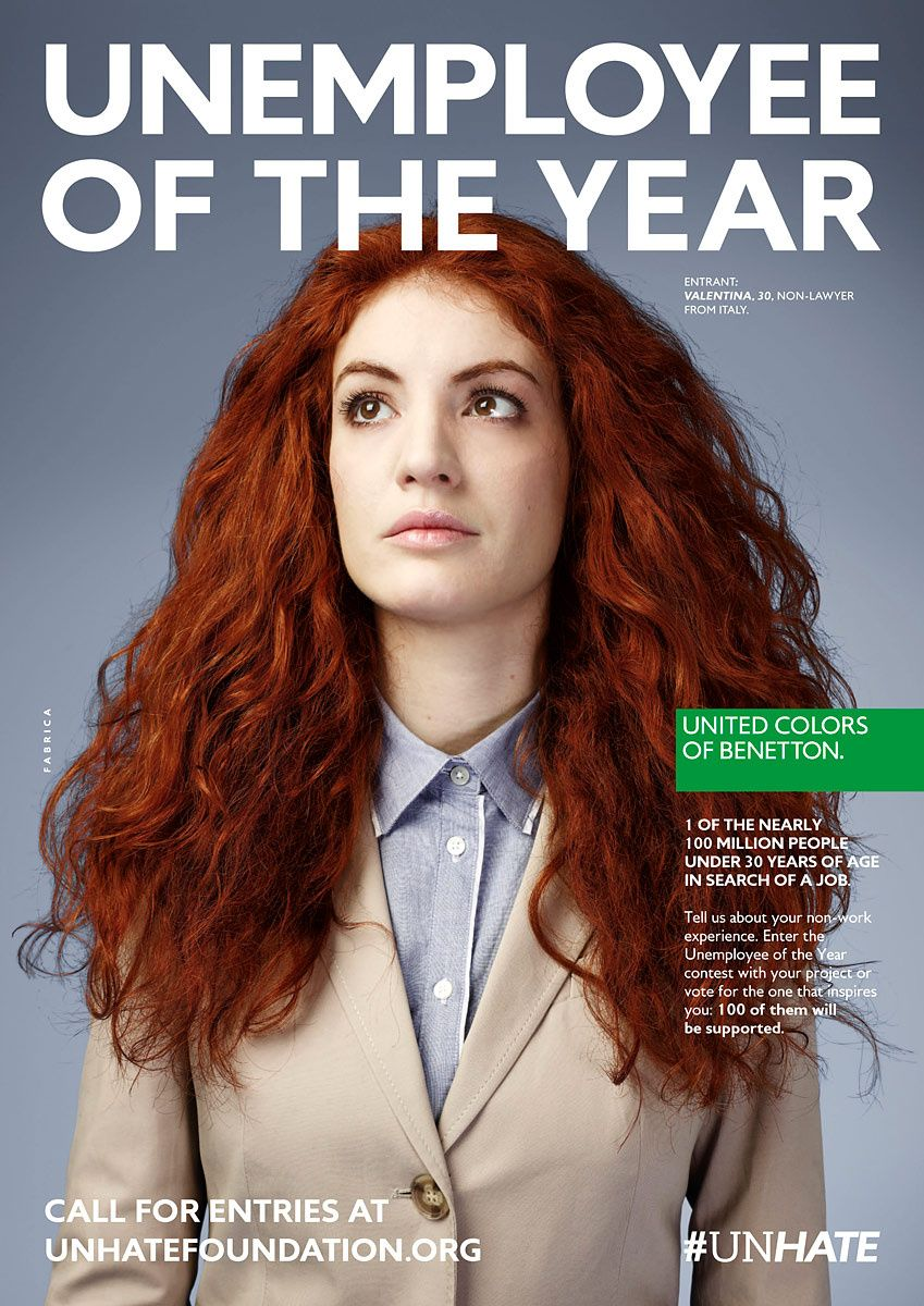 The unemployee of the year my likes campa as for Benetton y sus campanas publicitarias