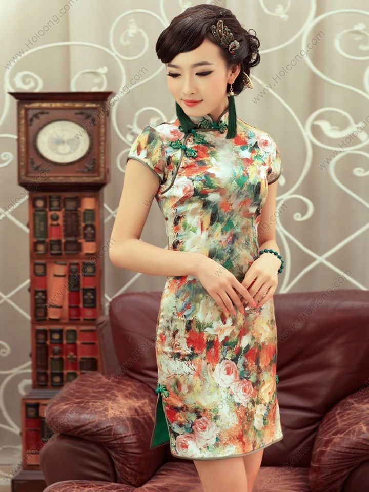 Women's Silk Mini Cheongsam Dress - USD $ 215.00