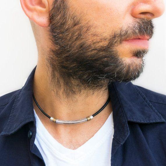 4df2010a737a8 Men's Necklace - Men's Choker Necklace - Men's leather Necklace ...