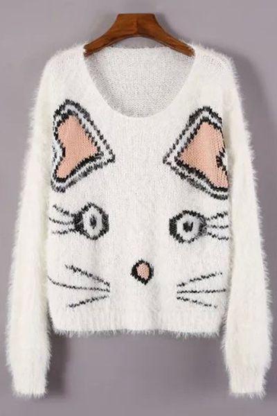 Kitten Pattern Jacquard Jumper