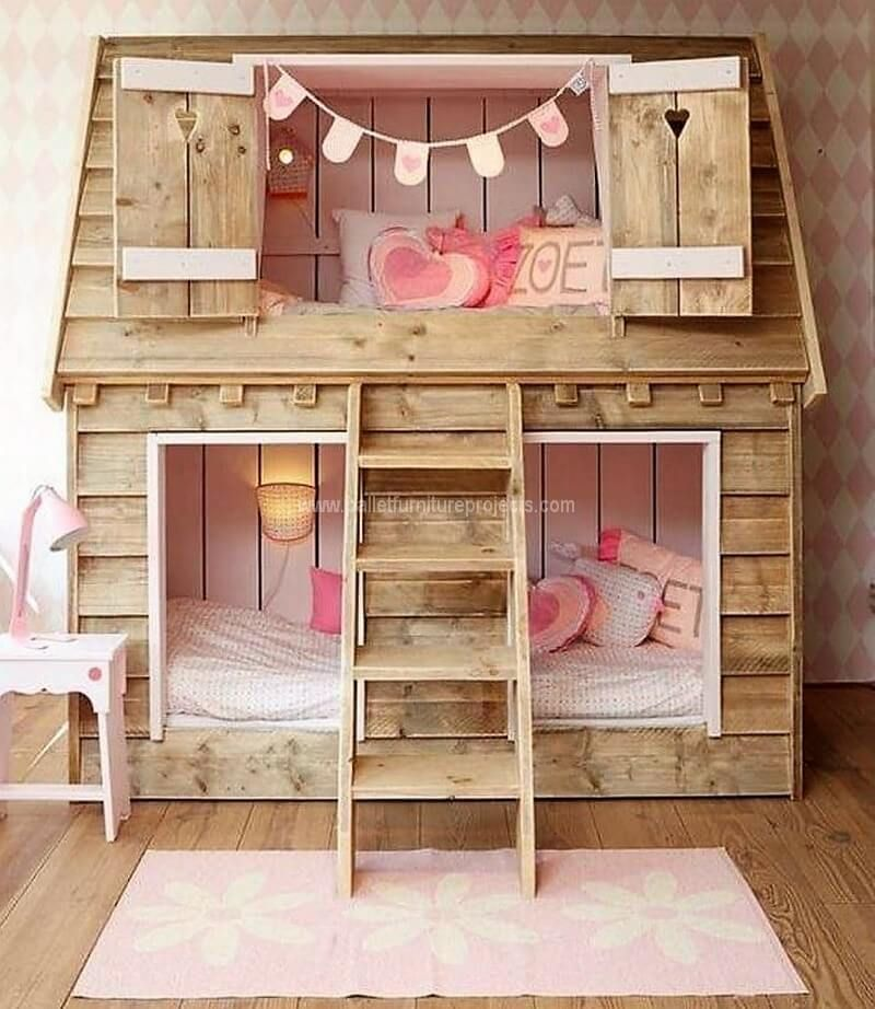 DIY Ideas for Wood Pallet Projects | Girls bunk beds, Kid ...