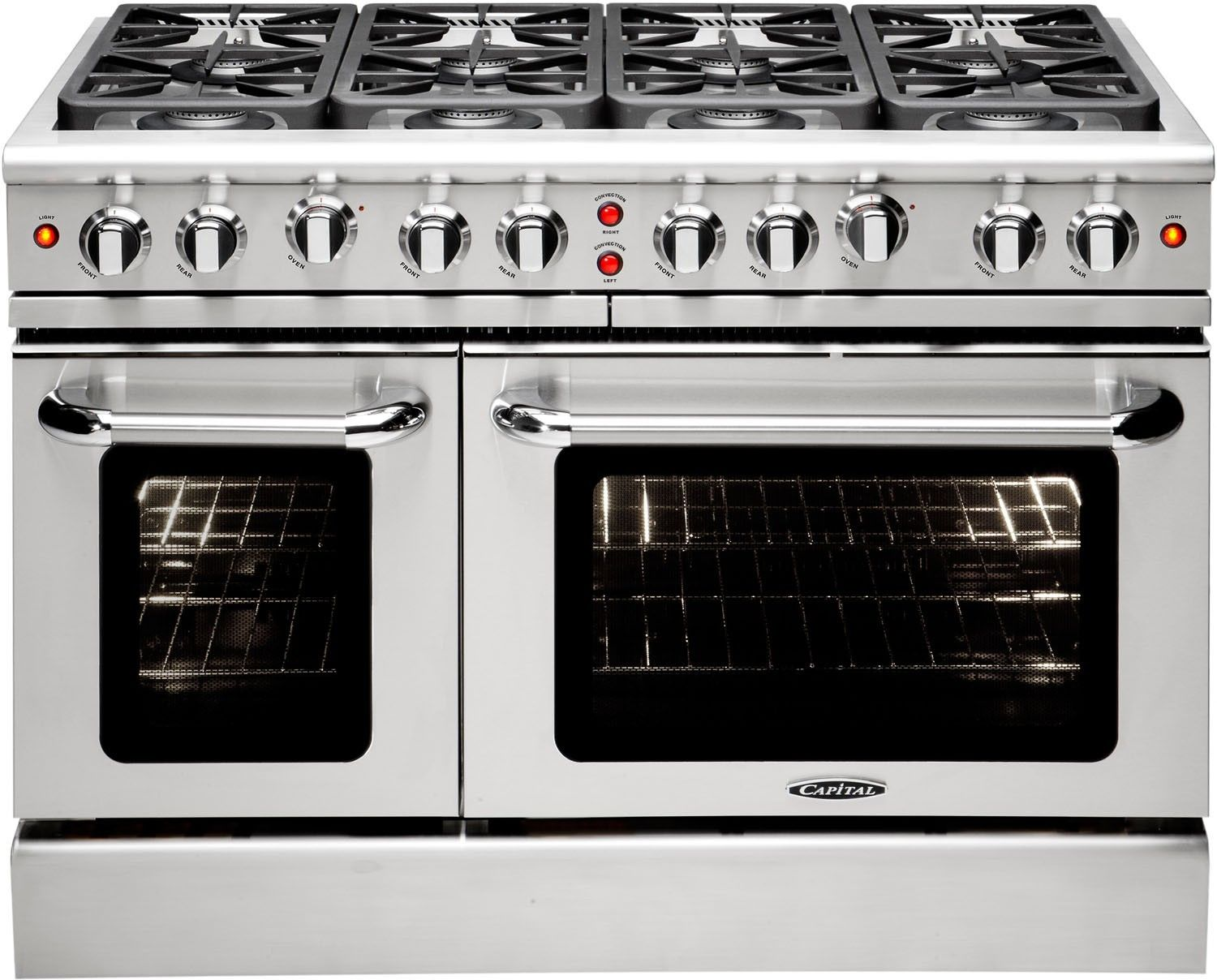 Capital Mcr488l 48 Inch Pro Style Gas Range With 8 Sealed Burners Infrared Broil Burner Interior Oven Light Continuous Grates Convection Bake 4 9 Cu Ft P Cooking Range Range Cooker Double Oven
