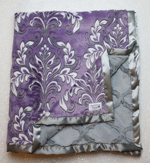 Minky Blanket. soft blanket purple blanket mar by RuthieandSage