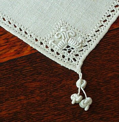 Em's Heart Antique Linens -Antique Italian Linen Embroidered Doilies