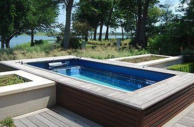 Deck swimming pools above ground lap pools mini pool for Modular lap pool