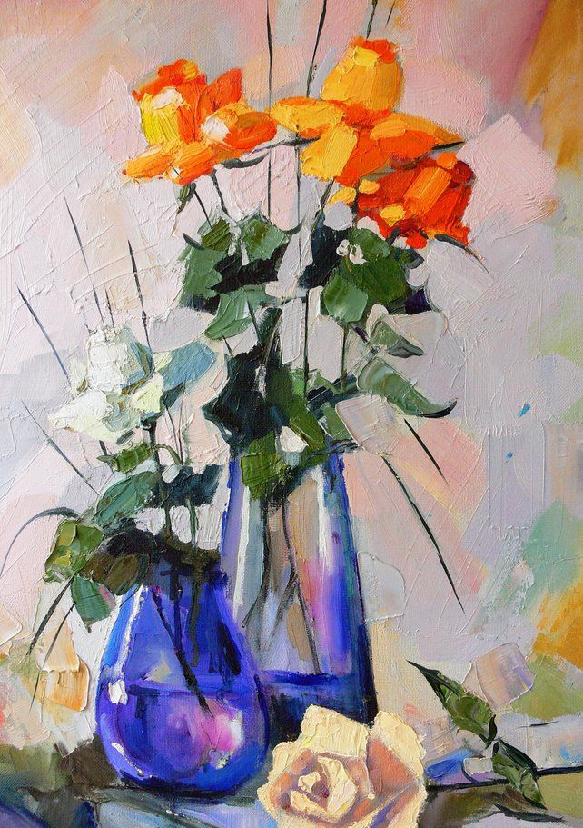 XXL Oil Painting WILDFLOWERS Large Canvas Original Palette